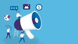 illustration of a group of people using large megaphones to attract attention and announce something. concept refer a friend, public relations, new news information. flat design.