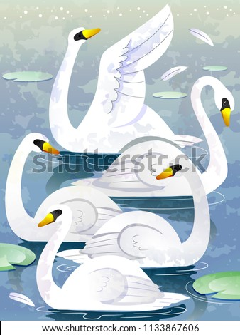 illustration of a group of swan