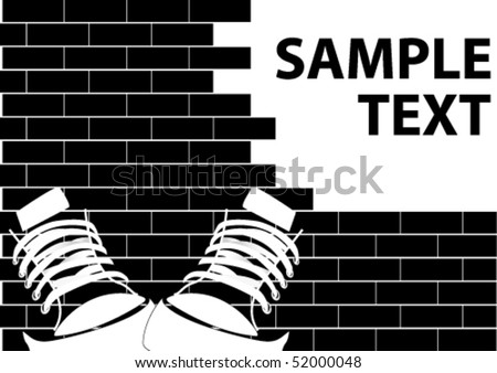 Illustration of a grunge graffiti on a brick wall