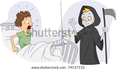Illustration of a Guy Dressed as the Grim Reaper Visiting a Patient