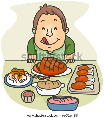 Illustration of a Guy Eager to Eat the Food Served in Front of Him