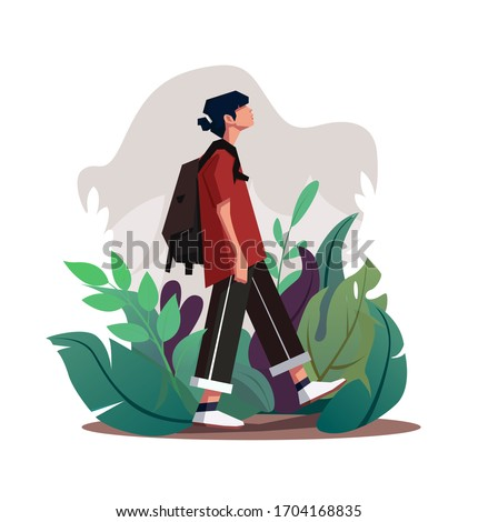 Illustration of a guy walking in a grass with a backpack. teenager walking vector illustration. Young man in casual clothes going down among the leaves. Man with backpack taking a walk, Vector EPS10 Stockfoto ©