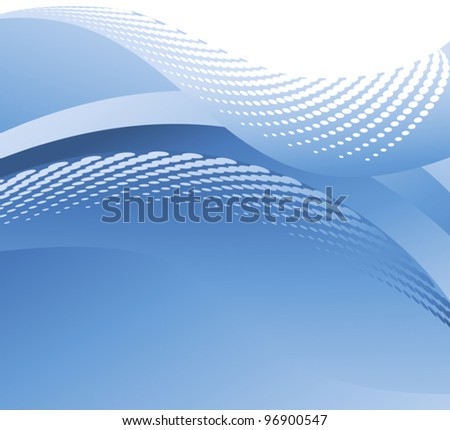Illustration of a halftone blue water wave
