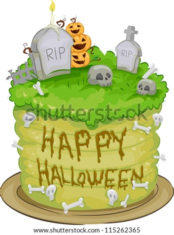 Illustration of a Halloween Cake with Tombstones and Jack-o'-Lanterns on Top
