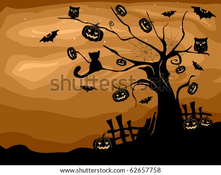 Illustration of a Halloween Tree with Bats, Cats, Owls, and Pumpkins