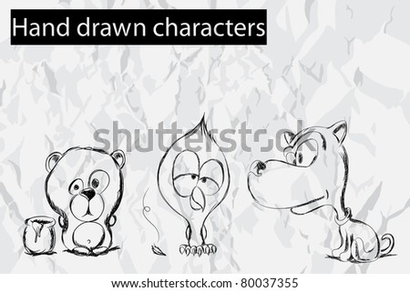 Illustration of a hand drawn characters (bear, chick and dog)