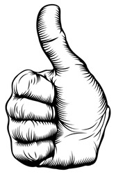 Illustration of a hand giving a thumbs up in a woodblock style