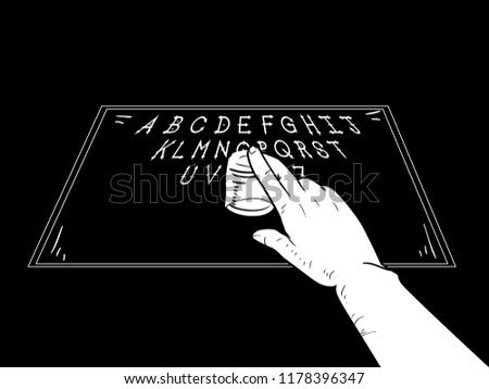 Illustration of a Hand Holding a Shot Glass and Using a Spirit Board to Talk to the Dead