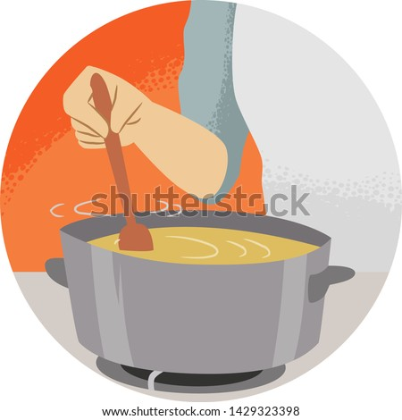 Illustration of a Hand Holding a Wooden Spoon Stirring Soup. Kitchen Verb Stir