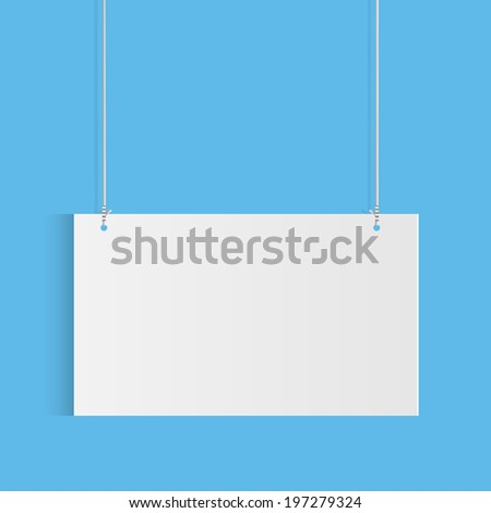 Illustration of a hanging sign against a colorful blue background.