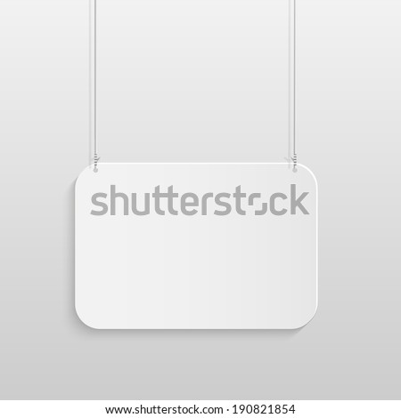 Illustration of a hanging sign against a light gray background.