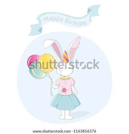Stock Photo Illustration of a happy birthday. White bunny holds balloons