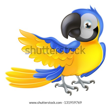 Illustration of a happy blue and yellow cartoon macaw parrot pointing with his wing