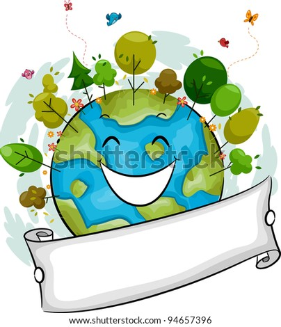 Illustration of a Happy Earth Filled with Trees