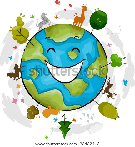 illustration of a happy earth