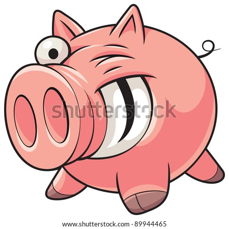 Illustration of a happy fat pink pig with a big smile showing teeth