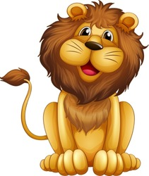 Illustration of a happy lion in a sitting position on a white background