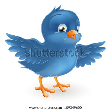 Illustration of a happy little bluebird with wings outstretched