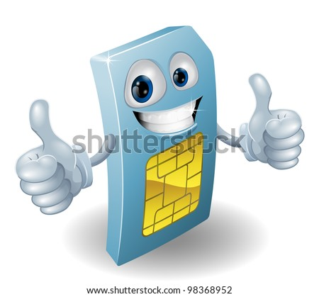 Illustration of a happy phone sim card person doing a thumbs up