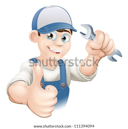 Illustration of a happy plumber, mechanic or handyman in work clothes holding a spanner and giving thumbs up