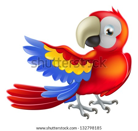 Illustration of a happy red cartoon macaw parrot pointing with his wing