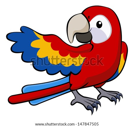 Illustration of a happy red cartoon parrot pointing with his wing