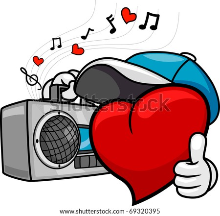 Illustration of a Heart Doing a Thumbs Up While Listening to Music