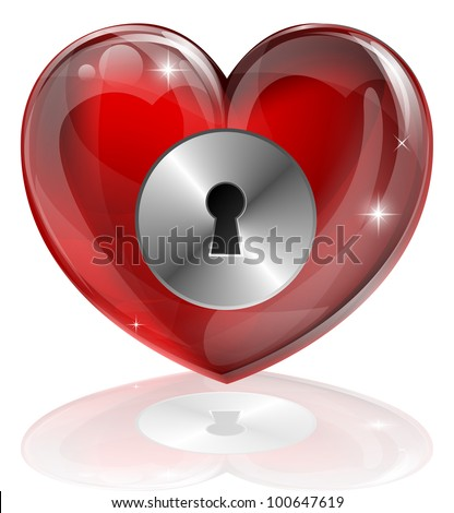 Illustration of a heart shaped lock with keyhole. Concept for loneliness, unlocking love, being guarded, health related or other subjects. - stock vector