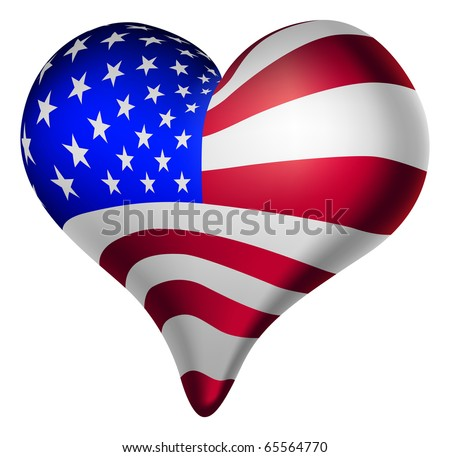 Illustration of a heart, with the american flag.