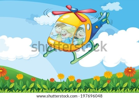 Illustration of a helicopter flying with kids