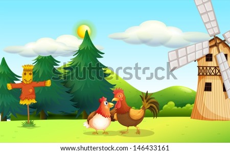 illustration of a hen and a