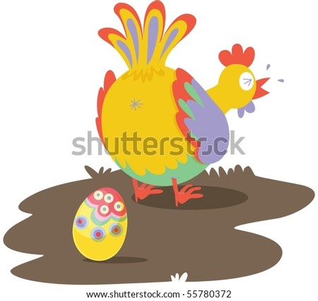 Illustration of A Hen Laying Egg on white background