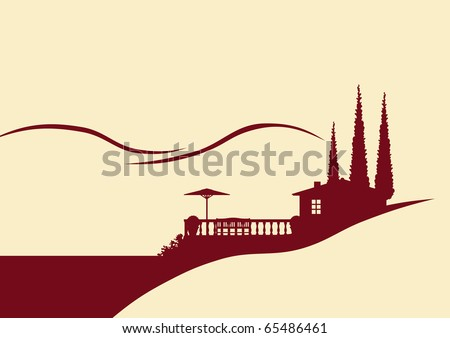 Illustration of a holiday home with terrace