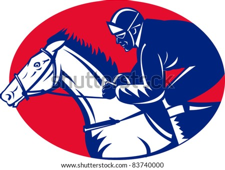 illustration of a horse and jockey racing side view done in retro woodcut style set inside oval