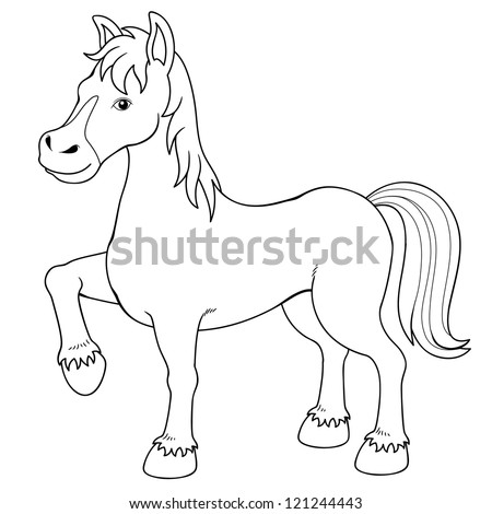 Illustration of a horse.Coloring book