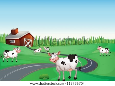 illustration of a house and a cow in a beautiful nature