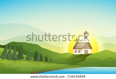 illustration of a house in a beautiful nature