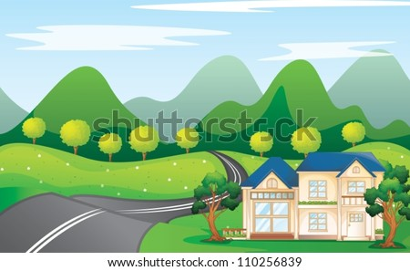 illustration of a houses in beautiful nature