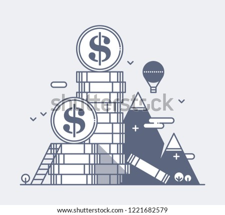 Illustration of a huge pile of dollar coins. Metaphor of success and luxury.
