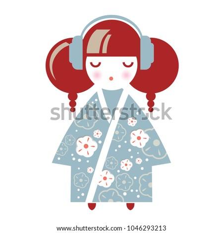 illustration of a japanese girl
