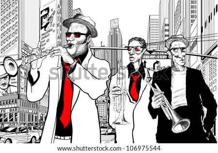 Illustration of a jazz band in a street of new-York with trumpet