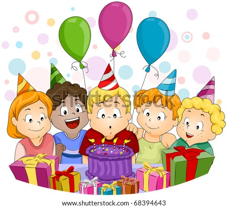 Illustration of a Kid Blowing His Birthday Candles