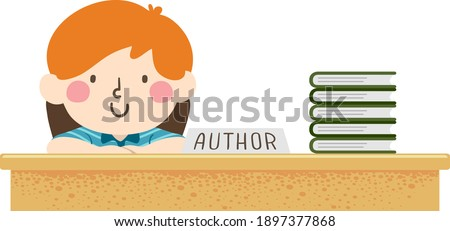 Illustration of a Kid Boy Author Smiling for Book Signing with a Stack of His Books on Table
