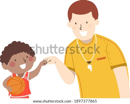 Illustration of a Kid Boy Basketball Player Holding Ball and Fist Bumping His Coach