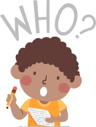 Illustration of a Kid Boy Holding Notes and Pencil and Asking a Who Question for a Journalism Class