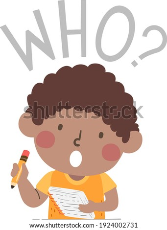 Illustration of a Kid Boy Holding Notes and Pencil and Asking a Who Question for a Journalism Class Foto stock ©