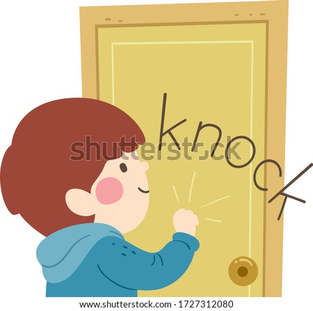 Illustration of a Kid Boy Knocking on a Door Producing Knock Sound Foto d'archivio ©