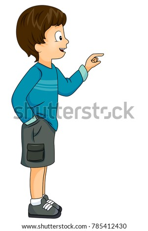 Illustration of a Kid Boy Looking and Pointing to the Right of the Screen