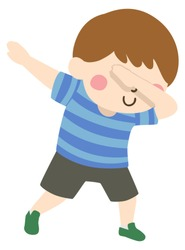 Illustration of a Kid Boy Posing with His Hands Up. A Dabbing Dance Pose