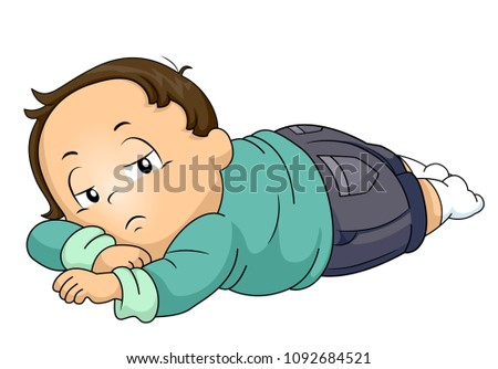 Illustration of a Kid Boy Toddler Lying Down on Stomach and Feeling Lazy and Lethargic